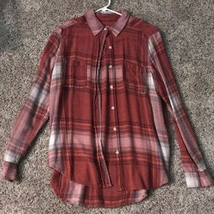 Red and white buttoned flannel